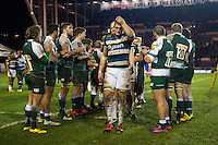 Stuart Hooper of Bath Rugby leaves the field dejected after the match. Aviva Premiership match, between Leicester Tigers and Bath Rugby on November 29, 2015 at Welford Road in Leicester, England. Photo by: Patrick Khachfe / Onside Images