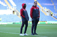 Swansea City assistant manager Claude Makelele and Swansea City goalkeeper coach Tony Roberts prior to kick off of the Carabao Cup Third Round match between Reading and Swansea City at Madejski Stadium, Reading, England, UK. Tuesday 19 September 2017
