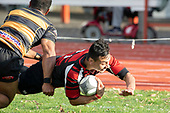 Kris Smithson dives over to score for Papakura. Counties Manukau Premier Club Rugby game between Papakura and Bombay, played at Massey Park Papakura on Saturday June 16th 2018. Bombay won the game 36 - 17 after leading 17 - 7 at halftime.<br /> Papakura Ray White 17 - Kris Smithson 2, Taafaga Tagaloa tries, Monty Punatai conversion.<br /> Bombay 36 - Jordan Goldsmith, Haamiora Clarke 2, Patrick Masoe, Mitchell Thackham, Chay Mackwood tries, Jordan Goldsmith 2, Ki<br /> Anufe conversions.<br /> Photo by Richard Spranger.