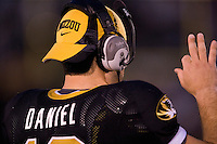 06 September 2008: Missouri quarterback Chase Daniel #10 sends in signals from the sideline after he  was pulled during the second quarter against Southeast Missouri State at Memorial Stadium in Columbia, Missouri.