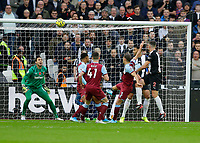 2nd November 2019; London Stadium, London, England; English Premier League Football, West Ham United versus Newcastle United; Ciaran Clark of Newcastle United heads the ball to score his sides 1st goal in the 15th minute to make it 0-1 - Strictly Editorial Use Only. No use with unauthorized audio, video, data, fixture lists, club/league logos or 'live' services. Online in-match use limited to 120 images, no video emulation. No use in betting, games or single club/league/player publications