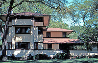 F.L. Wright: Wm. E. Martin House, 1903. 636 N. East Ave., Oak Park.  Photo '76.