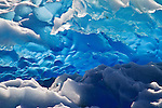 Blue ice of Grey Glacier creates an abstract art in Torres del Paine National Park, Chile.