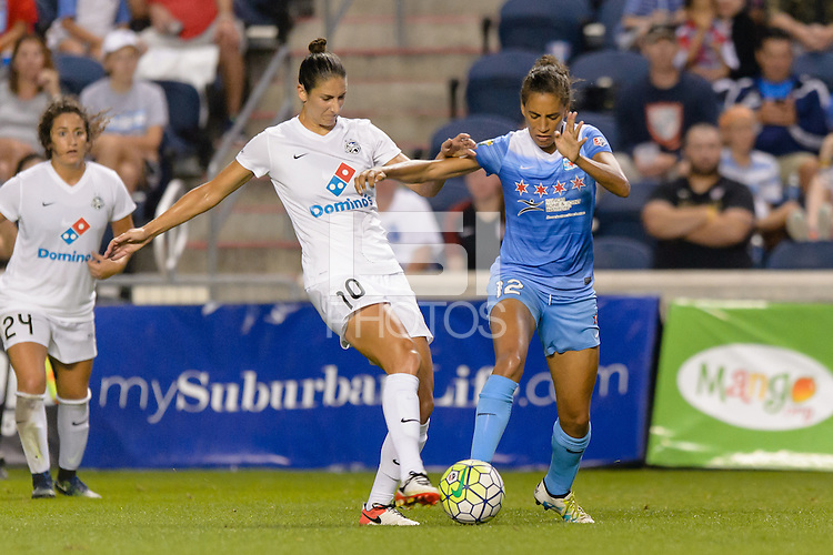 Chicago, IL - Saturday July 30, 2016: Yael Averbuch, Cara Walls during a regular season National Women's Soccer League (NWSL) match between the Chicago Red Stars and FC Kansas City at Toyota Park.