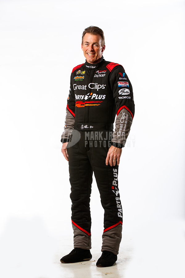 Feb 8, 2018; Pomona, CA, USA; NHRA top fuel driver Clay Millican poses for a portrait during media day at Auto Club Raceway at Pomona. Mandatory Credit: Mark J. Rebilas-USA TODAY Sports