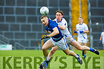 Kerry team mates Peter Crowley, Laune Rangers and Tadhg Morley, Templenoe in the heat of the action during their IFC semi final in Fitzgerald Stadium on Saturday.