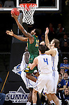 SIOUX FALLS, SD - MARCH 7:  Kory Brown #22 of North Dakota State goes up for a layup n the 2016 Summit League Tournament.   (Photo by Dave Eggen/Inertia)