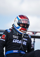 Oct 15, 2016; Ennis, TX, USA; NHRA top fuel driver Richie Crampton during qualifying for the Fall Nationals at Texas Motorplex. Mandatory Credit: Mark J. Rebilas-USA TODAY Sports