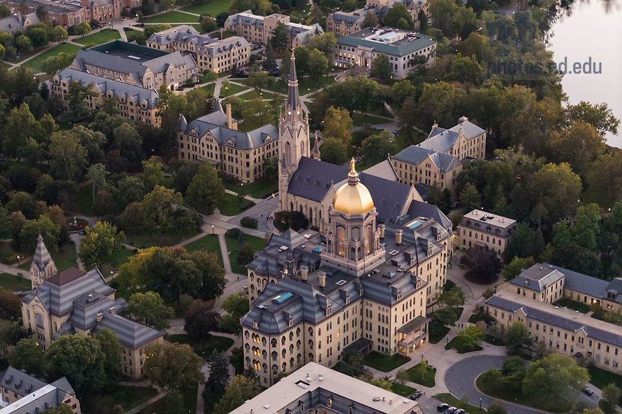 September 30, 2017; Aerial of the Main Building and the Basilica of the Sacred Heart. (Photo by Barbara Johnston/University of Notre Dame)