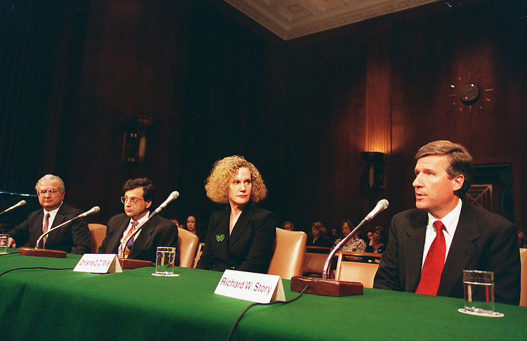 11/12/97.JUDICIAL NOMINATIONS HEARING--Federal judicial nominees Carlos Moreno, to be the U.S. District Judge for the Central District of Cailifornia, Barry G. Silverman, to be the U.S. Circuit Judge for the Ninth Circuit, Christine O.C. Miller, to be a Judge of the U.S. Court of Federal Claims, and Richard W. Story, to be the U.S. District Judge for the Northern District of Georgia, their confirmation hearing before the Judiciary Committee..CONGRESSIONAL QUARTERLY PHOTO BY SCOTT J. FERRELL