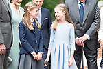 Princess Sofia and Princess Leonor pose to the media at First Communion of princess Sofia at Asuncion de Nuestra Senora Church in Madrid, May 17, 2017. Spain.<br /> (ALTERPHOTOS/BorjaB.Hojas)