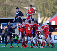 Hendon, England. Dave Foley of Munster wins the line out  during the European Rugby Champions Cup match between Saracens and Munster at Allianz Park stadium on January 17, 2015 in Hendon, England.