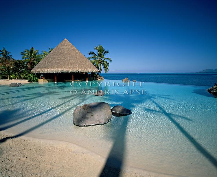 Beachcomber Parkroyal Hotel pool. Tahiti. French Polynesia.