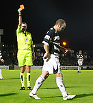 Dean Keenan walks off after a straight red card
