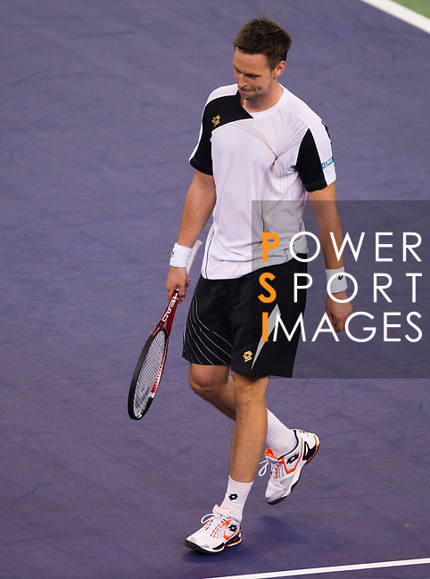 SHANGHAI, CHINA - OCTOBER 15:  Robin Soderling of Sweden reacts after loosing a point against Roger Federer of Switzerland during day five of the 2010 Shanghai Rolex Masters at the Shanghai Qi Zhong Tennis Center on October 15, 2010 in Shanghai, China.  (Photo by Victor Fraile/The Power of Sport Images) *** Local Caption *** Robin Soderling