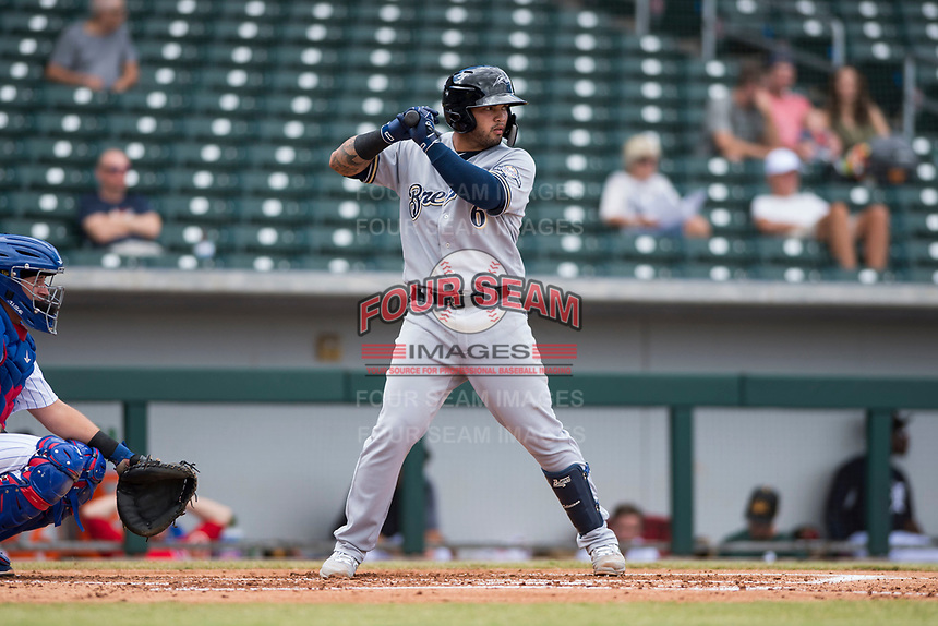 Peoria Javelinas catcher Mario Feliciano (6), of the Milwaukee Brewers organization, at bat in front of catcher P.J. Higgins (12) during an Arizona Fall League game against the Mesa Solar Sox at Sloan Park on October 11, 2018 in Mesa, Arizona. Mesa defeated Peoria 10-9. (Zachary Lucy/Four Seam Images)