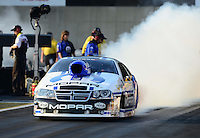 Oct. 5, 2012; Mohnton, PA, USA: NHRA pro stock driver Allen Johnson during qualifying for the Auto Plus Nationals at Maple Grove Raceway. Mandatory Credit: Mark J. Rebilas-