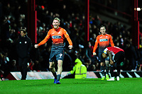 Oli McBurnie of Swansea City celebrates at full time during the Sky Bet Championship match between Brentford and Swansea City at Griffin Park, Brentford, England, UK. Saturday 08 December 2018