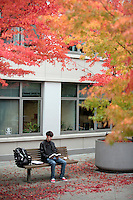 10212009- Seattle University student Antonio Ysursa takes a break and reads on a bench outside Pigott as Fall starts to show its true colors on campus.