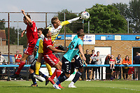 Charlton goalkeeper, Ashley Maynard-Brewer punches the ball clear to foil a Welling attack during Welling United vs Charlton Athletic, Friendly Match Football at the Park View Road Ground on 13th July 2019