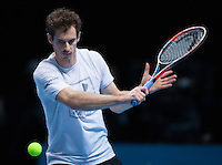World Number One Andy Murray (GBR) practices ahead of his match against Novak Djokovic (SRB) in the ATP World Tour Final, ATP World Tour Finals 2016, Day Eight, O2 Arena, Peninsula Square, London, United Kingdom, 20th Nov 2016