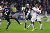 2nd November 2017, Nice, France; EUFA Europa League, Olympique Lyonnais versus Everton;  Tanguy Ndombele (lyon) abd Ademola Lookman (everton) tussle for the high ball
