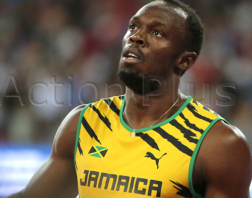 22.08,2015. Beijing, China.   Usain Bolt of Jamaica reacts after the Men's 100 M Semi Final Heat 2 during the 15th International Association of Athletics Federations (IAAF) Athletics World Championships in Beijing, China, 23 August 2015.