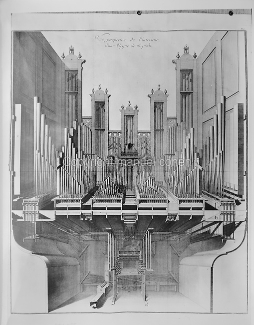 Perspective view of the interior of an organ, illustration from 'líArt du Facteur díOrgues' or 'The Art of Building Organs', by F Lamathe Bedos de Celles de Salelles, known as Dom Bedos de Celles, published in 1766. Copyright © Collection Particuliere Tropmi / Manuel Cohen