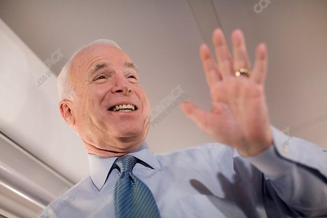 Senator John McCain Republican presidential candidate, aboard his campaign plane, Dallas, Texas, January 30, 2008.
