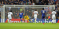 Pictured: Lukasz Fabianski of Swansea City (C) manages to save catch the ball from a penalty kick shot by Riyad Mahrez of Leicester City Saturday 27 August 2016<br />Re: Swansea City FC v Leicester City FC Premier League game at the King Power Stadium, Leicester, England, UK
