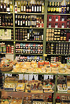 Shop display local food and drink specialities, Trujillo, Caceres province, Extremadura, Spain
