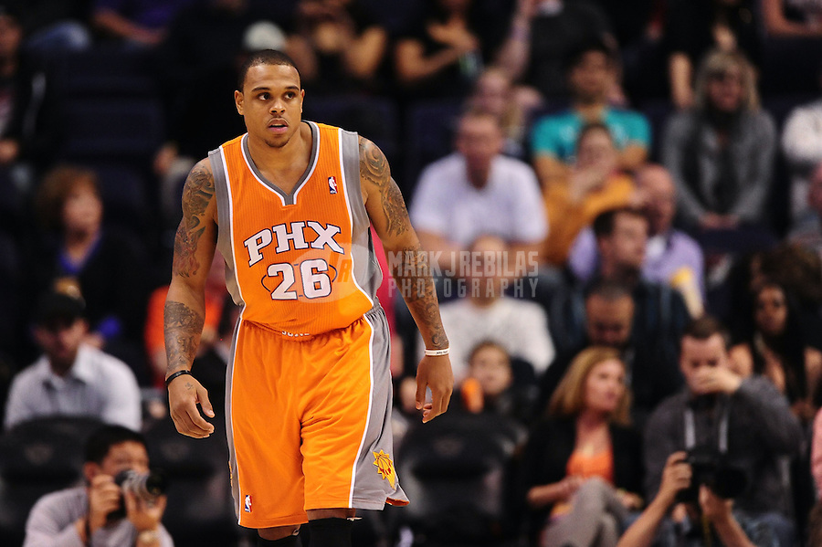 Dec. 26, 2011; Phoenix, AZ, USA; Phoenix Suns guard Shannon Brown during game against the New Orleans Hornets at the US Airways Center. The Hornets defeated the Suns 85-84. Mandatory Credit: Mark J. Rebilas-USA TODAY Sports