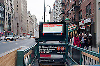 """A subway entrance information display warns of the eminent shutdown of the transit system because of Hurricane Sandy, in New York on Sunday, October 28, 2012. In advance of the arrival of Hurricane Sandy New York will shut down the subways at 7 PM on Sunday and evacuate low lying """"Zone A"""" areas including Battery Park City. In addition the schools will be closed on Monday. (© Richard B. Levine)"""