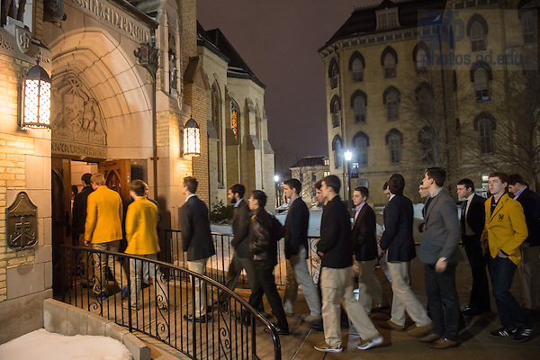 Mar. 4, 2015; Students enter the Basilica of the Sacred Heart in the overnight hours to pay respects at the visitation of President Emeritus Rev. Theodore M. Hesburgh, C.S.C. (Photo by Matt Cashore/University of Notre Dame)