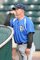 Manager Joe Mikulik (20) of the Asheville Tourists, a Colorado Rockies affiliate, prior to a game against the Greenville Drive on May 14, 2012, at Fluor Field at the West End in Greenville, South Carolina. Asheville won, 11-6. (Tom Priddy/Four Seam Images)
