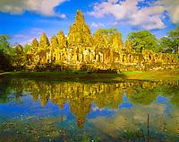 Bayon Temple Reflection, City of Angkor Thom Built 1100-1200 AD, Angkor Watt Archeological Park, Cambodia
