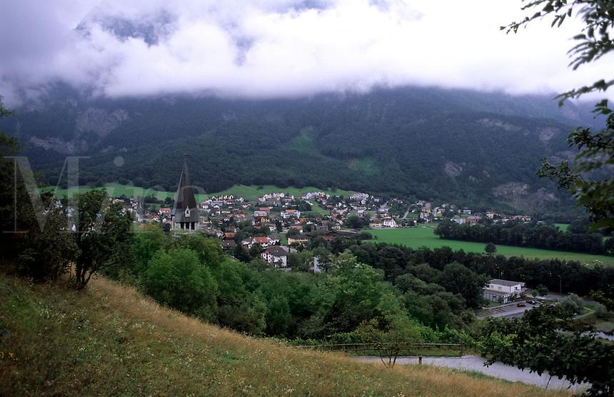 Vineyards and village of Balzers in Liechtenstein the small country next to Switzerland