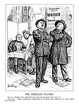 "The Strolling Players. France. ""Those two seem to be always walking out on us."" John Bull. ""Well, however awkward it is for the rest of us, the show must go on."""