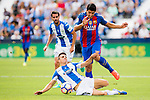 Luis Suarez of FC Barcelona fights for the ball with Unai Bustinza of Deportivo Leganes during their La Liga match between Deportivo Leganes and FC Barcelona at the Butarque Municipal Stadium on 17 September 2016 in Madrid, Spain. Photo by Diego Gonzalez Souto / Power Sport Images