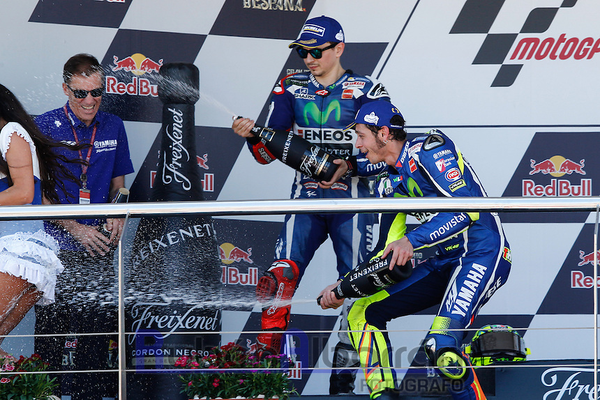Valentino Rossi and Jorge Lorenzo celebrating in Motorcycle Championship GP, in Jerez, Spain. April 24, 2016
