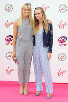 NON EXCLUSIVE PICTURE: PAUL TREADWAY / MATRIXPICTURES.CO.UK<br /> PLEASE CREDIT ALL USES<br /> <br /> WORLD RIGHTS<br /> <br /> English actress and model Isabella Calthorpe and her sister, and Prince Harry's girlfriend Cressida Bonas, attending the WTA Pre Wimbledon Party, at London's Kensington Roof Gardens.<br /> <br /> 20th JUNE 2013<br /> <br /> REF: PTY 134225