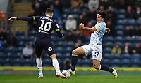 Blackburn Rovers' Lewis Travis battles for the ball<br /> <br /> Photographer Dave Howarth/CameraSport<br /> <br /> The EFL Sky Bet Championship - Blackburn Rovers v Derby County -Tuesday 9th April 2019 - Ewood Park - Blackburn<br /> <br /> World Copyright &copy; 2019 CameraSport. All rights reserved. 43 Linden Ave. Countesthorpe. Leicester. England. LE8 5PG - Tel: +44 (0) 116 277 4147 - admin@camerasport.com - www.camerasport.com