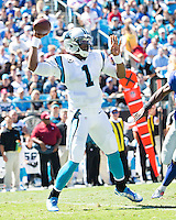 The Carolina Panthers played the New York Giants at Bank of America Stadium in Charlotte, NC.  The Panthers won 38-0 for their first victory of the season.  The Giants dropped to 0-3.  Carolina Panthers quarterback Cam Newton (1)