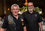 """WATERBURY, CT. 23 May 2018-052318BS93 - Vietnam Veterans Tony Fiore, left, of Watertown and Rob Kenney of Bethlehem enjoy themselves at the Waterbury Veterans Committee's """"Support Our Troops"""" Annual Dinner at the Ponte Club on Wednesday evening. Bill Shettle Republican-American"""