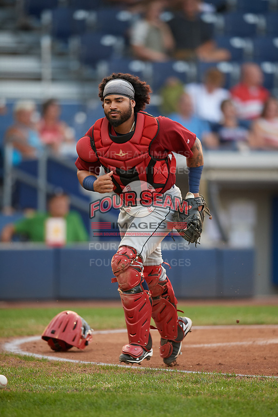 Mahoning Valley Scrappers catcher Jason Rodriguez (9) tracks down a loose ball during a game against the Williamsport Crosscutters on August 28, 2018 at BB&T Ballpark in Williamsport, Pennsylvania.  Williamsport defeated Mahoning Valley 8-0.  (Mike Janes/Four Seam Images)
