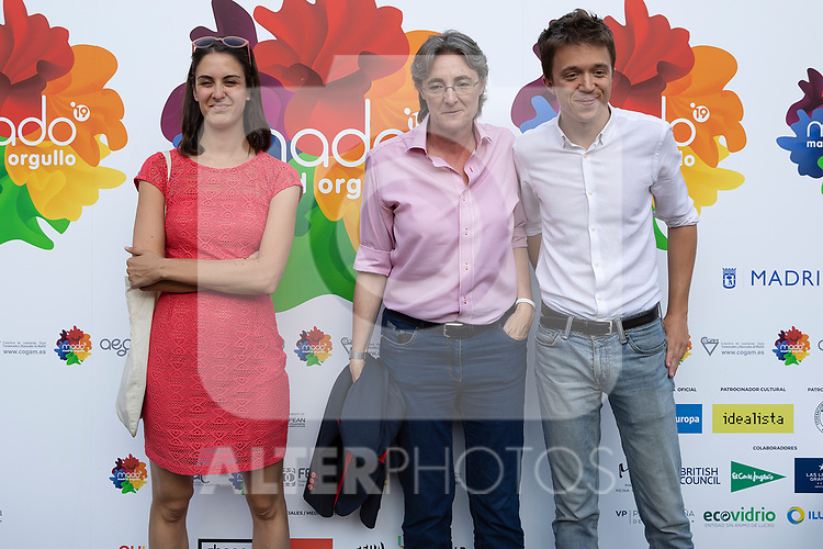 (L to R) Rita Maestre, Marta Higueras and Inigo Errejon during photocall of the lgtb pride party of Madrid. July 3, 2019. (ALTERPHOTOS/JOHANA HERNANDEZ)