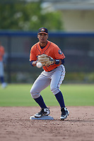 Houston Astros second baseman Juan Pineda (90) during a Minor League Spring Training Intrasquad game on March 28, 2019 at the FITTEAM Ballpark of the Palm Beaches in West Palm Beach, Florida.  (Mike Janes/Four Seam Images)