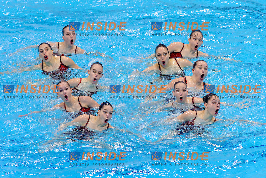 SWITZERLAND SUI <br /> BELLINA Maxence PIFFARETTI Maria KOCH Vivienne FLURI Christine NYDEGGER Michelle JACCARD Gladys PESCHL Joelle PESCHL Noemi WEIBEL Sarina JACCARD Melisande <br /> Free Combination Final <br /> London, Queen Elizabeth II Olympic Park Pool <br /> LEN 2016 European Aquatics Elite Championships <br /> Synchronized Swimming <br /> Day 04 12-05-2016<br /> Photo Andrea Staccioli/Deepbluemedia/Insidefoto