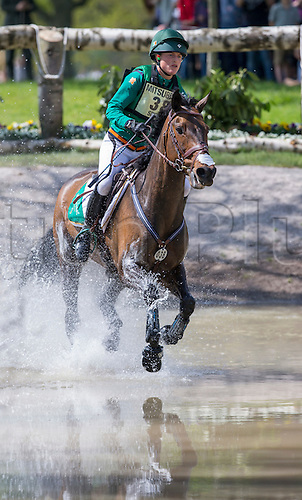 07.05.2016. Badminton House, Badminton, England. Mitsubishi Motors Badminton Horse Trials. Day Four. Camilla Speirs (IRE) riding 'Portersize Just A Jiff' during the cross country element of The Mitsubishi Motors Badminton Horse Trials.