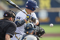 Michigan Wolverines catcher Harrison Wenson (7) at the plate against the Toledo Rockets on April 20, 2016 at Ray Fisher Stadium in Ann Arbor, Michigan. Michigan defeated Bowling Green 2-1. (Andrew Woolley/Four Seam Images)